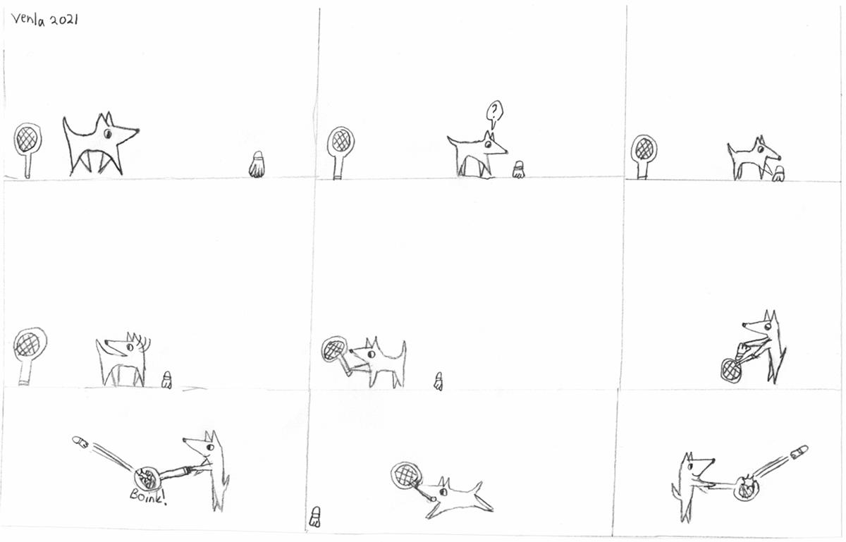 Sarjakuva koira löytää pallon 04/2021